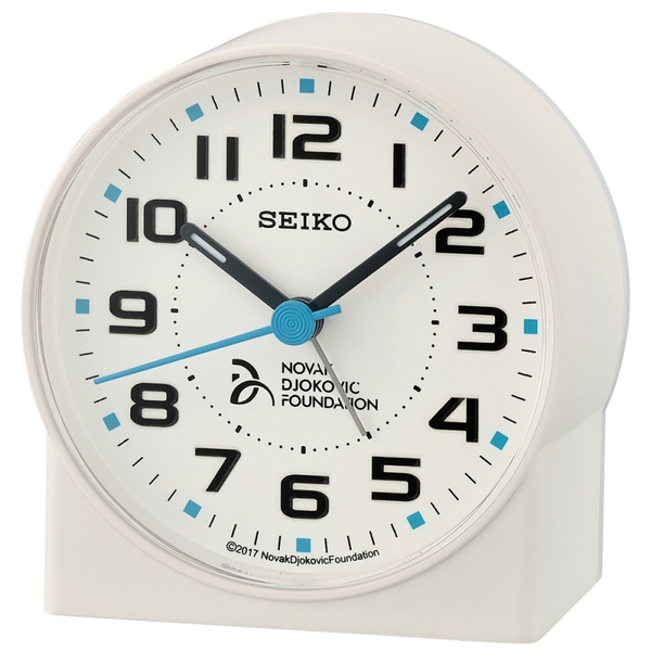Seiko QHE907W Novak Djokovic Foundation Alarm Clock - Matt White