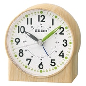 Seiko QHE168B Green Lumibrite Alarm Clock with Wood Pattern Case