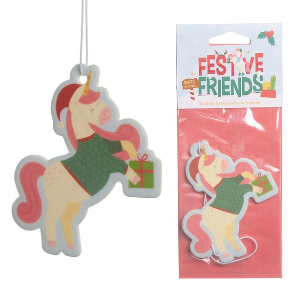 Christmas Cookie Festive Friends Unicorn (Pack Of 6) Air Freshener
