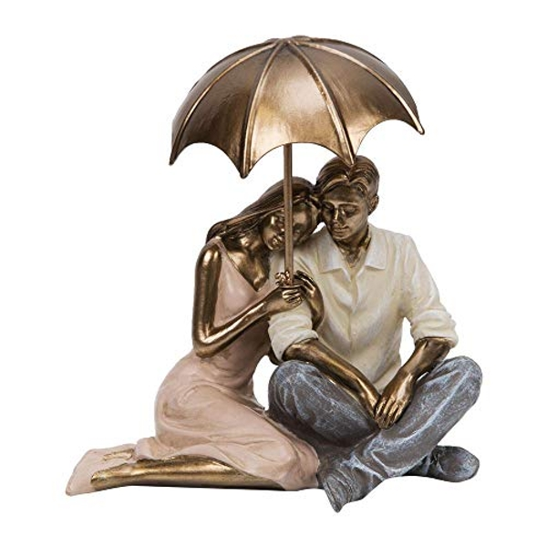 Rainy Day Collection Resin Figurine - Couple Sitting 12cm