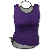 Gothic Rock 2In1 Mesh Purple Women's Small Sleeveless Top - Purple