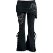 Fatal Attraction Women's Large 2 In 1 Boot-Cut Leggings With Micro Slant Skirt - Black