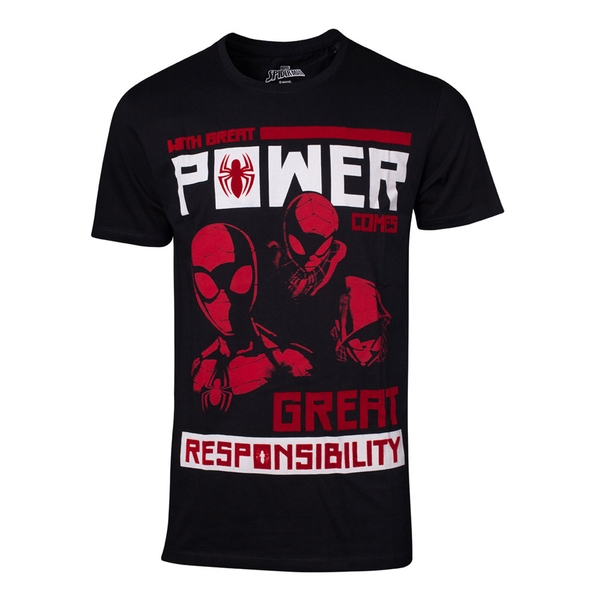 Marvel Comics - Power Vs. Responsibility Men's X-Large T-Shirt - Black