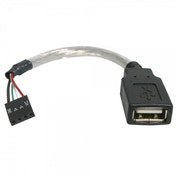6in USB 2.0 Cable - USB A Female to USB Motherboard 4 Pin Header F/F