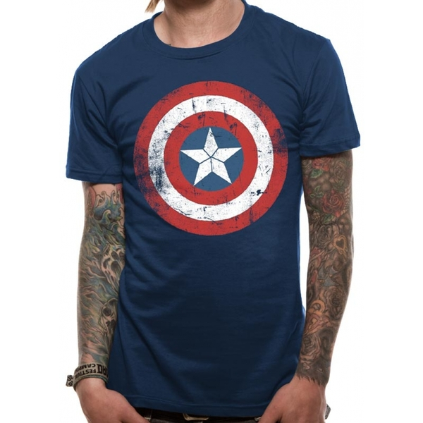 Captain America Shield Distressed Unisex Small T-shirt