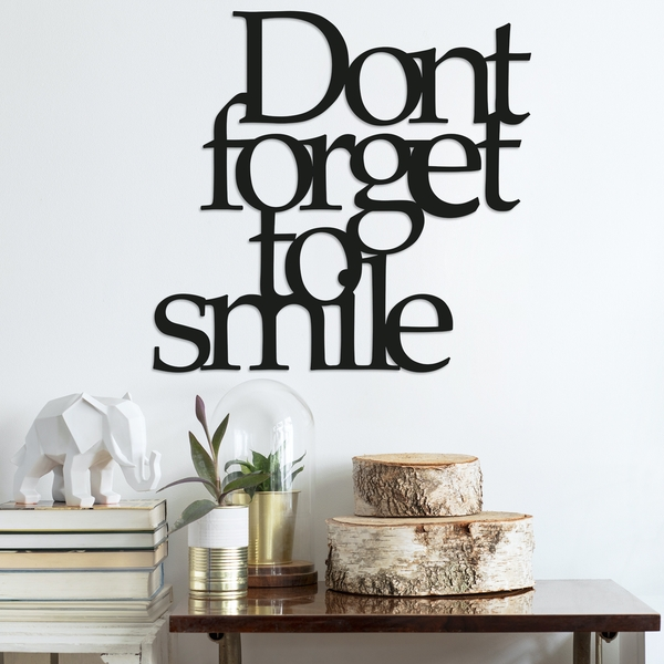 Dont Forget To Smile Black Decorative Metal Wall Accessory