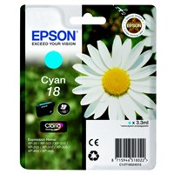 Epson C13T18024012 (18) Ink cartridge cyan, 180 pages, 3ml
