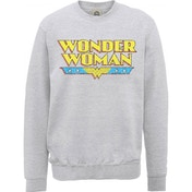 DC Comics - Wonder Woman Logo Crackle Men's X-Large Sweatshirt - Grey