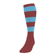 Precision Hooped Football Socks Large Boys Maroon/Sky