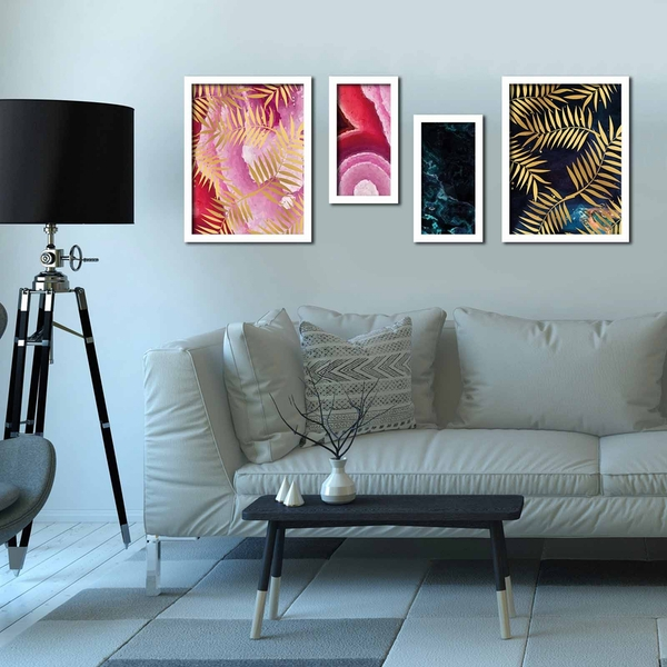 4P3040BCT009 Multicolor Decorative Framed MDF Painting (4 Pieces)