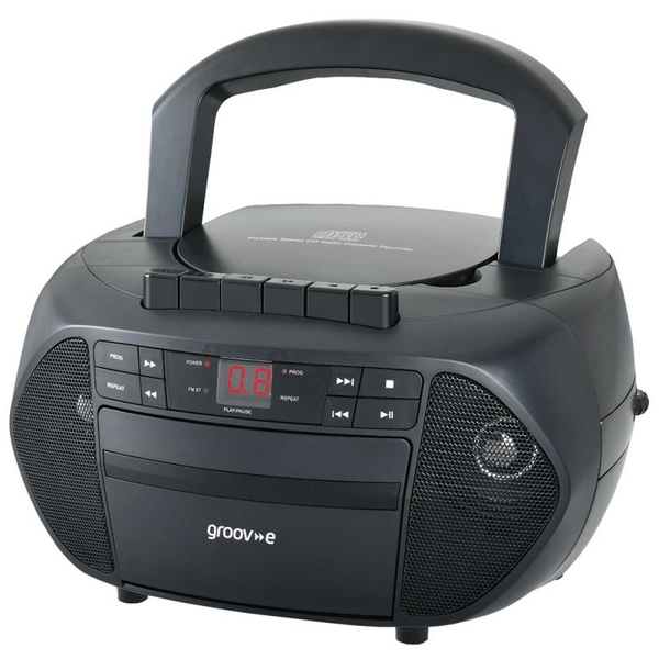 Groov-e GVPS833BK Traditional Boombox Portable CD & Cassette Player with Radio - Black UK Plug