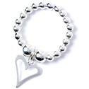 Open Heart Charm with Sterling Silver Ball Bead Ring