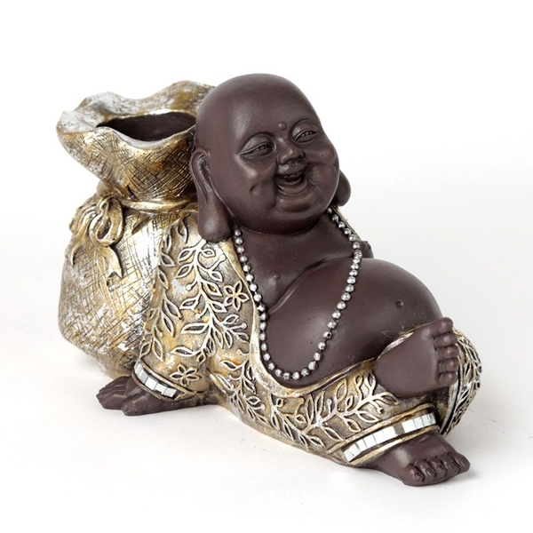 Brown and Silver Chinese Laughing Buddha Tea Light Holder