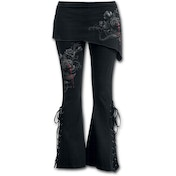 Fatal Attraction Women's Small 2 In 1 Boot-Cut Leggings With Micro Slant Skirt - Black