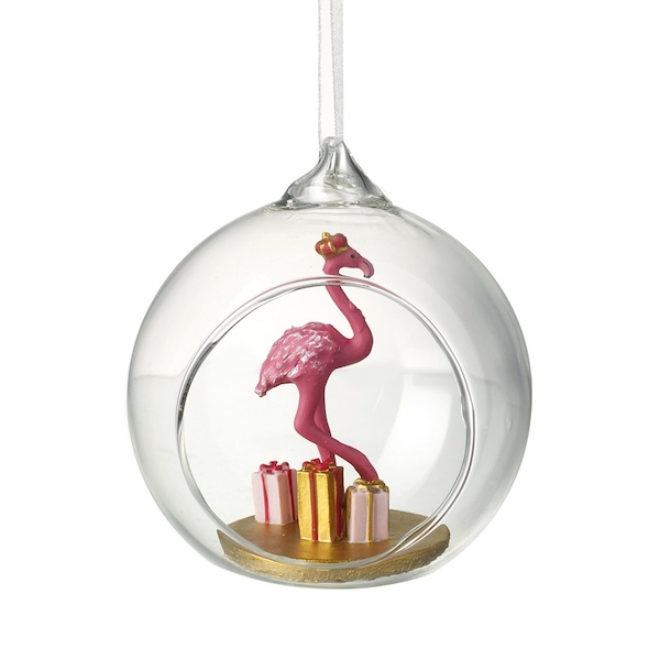 Hanging Flamingo Bauble Decoration by Heaven Sends