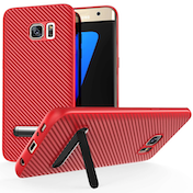 Samsung Galaxy S7 Edge Carbon Fibre Textured Gel Case with Kickstand- Red