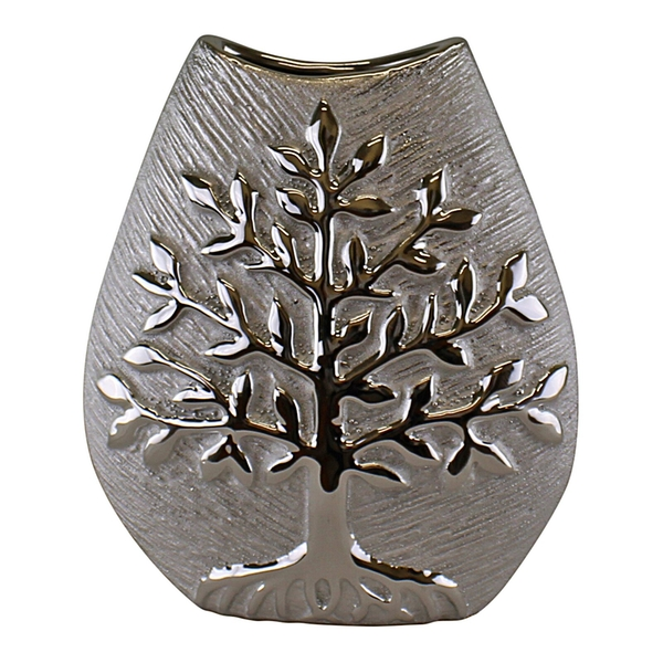 Ceramic Silver Tree Of Life Vase 20cm