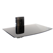 Tempered Black Glass Floating Shelf | M&W 1 Tier