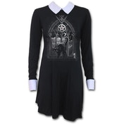 Witch Nights Women's Medium Peterpan Collar Baby Doll Long Sleeve Dress - Black