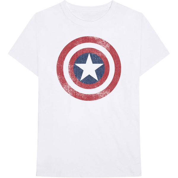 Marvel Comics - Captain America Distressed Shield Unisex XX-Large T-Shirt - White