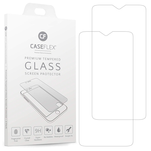 Caseflex OnePlus 6T Tempered Glass Screen Protector - Twin Pack