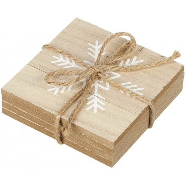 Set of Wooden Coasters With Snowflake Decal