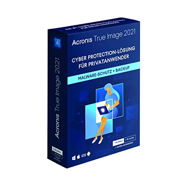 Acronis True Image 2021| Premium | 1 PC/Mac | 1 Year | Personal Cyber Protection | Integrated Backup and Antivirus with 1 TB Cloud Storage