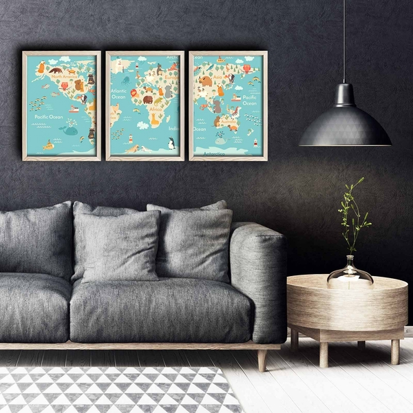 3PKCT-007 Multicolor Decorative Framed MDF Painting (3 Pieces)
