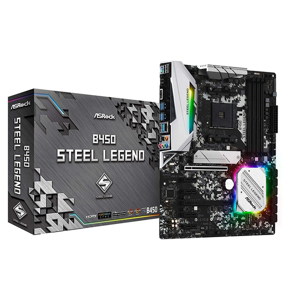Asrock B450 STEEL LEGEND, AMD B450, AM4, ATX, 4 DDR4, HDMI, DP, XFire, Rock-Solid Durability - Image 1