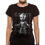 Guardians Of The Galaxy Vol 2 - Photo Groot Women's Medium T-Shirt - Black