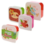 Fun Sloth Design Set of 3 Plastic Lunch Boxes
