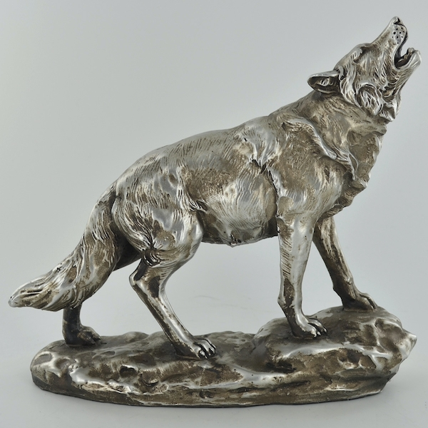 Antique Silver Howling Wolf Ornament
