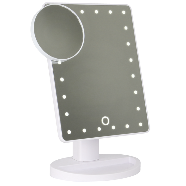 LED Light Up Illuminated Make Up Bathroom Mirror With Magnifier | M&W White New - Image 2
