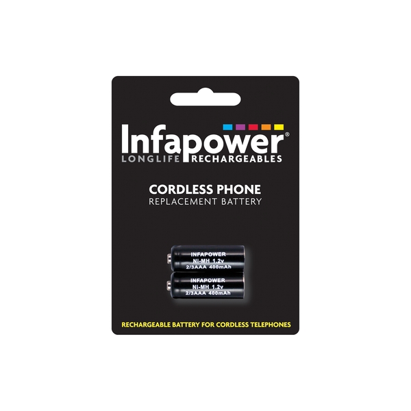 Infapower Rechargeable Ni-MH Battery for Cordless Telephones 2 x 2/3 AAA 1.2v 400mAh