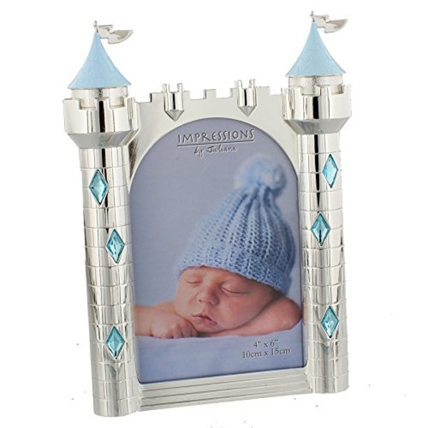 """4"""" x 6"""" - Silver Plated & Blue Crystals Castle Photo Frame"""