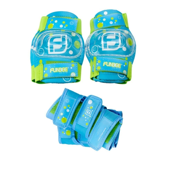 Funbee Boy's Kid's Activities X-Small/Small Wrist Guards, Elbow Pads and Knee Pads Protection Set - Blue/Green
