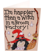 Pack of 6 I'M Happier Than A Witch Smiley Cards