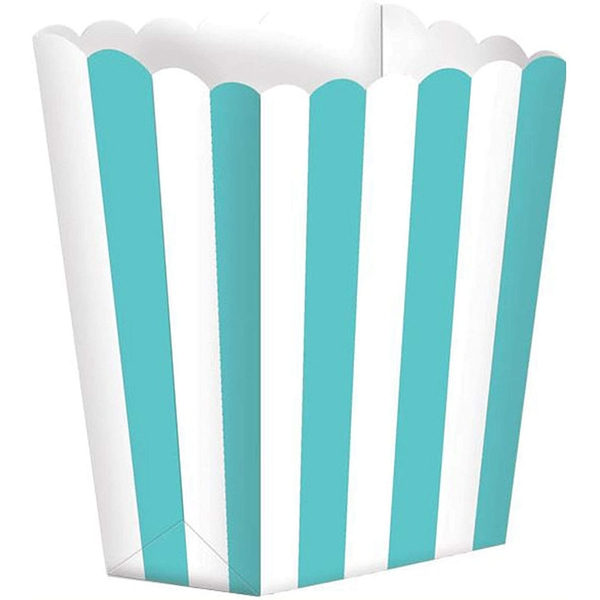 Blue Stripped Scalloped Popcorn Boxes