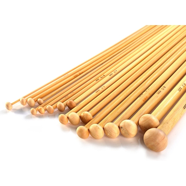 Bamboo Knitting Needles Set - 36 Pcs | Pukkr