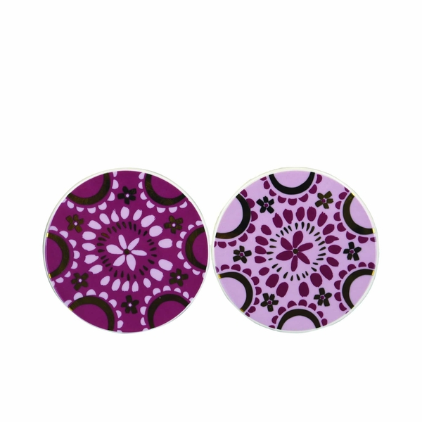 Bohemian Assorted Coasters Plum and Gold (One Random Supplied)
