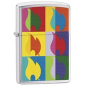 Zippo Abstract Flame Design Brushed Chrome Finish Windproof Lighter