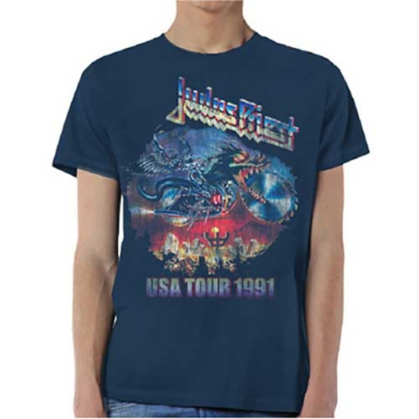 Judas Priest - Painkiller US Tour 91 Unisex Medium T-Shirt - Blue