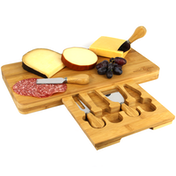 Bamboo Cheese Board Serving Platter With Knife Set | M&W