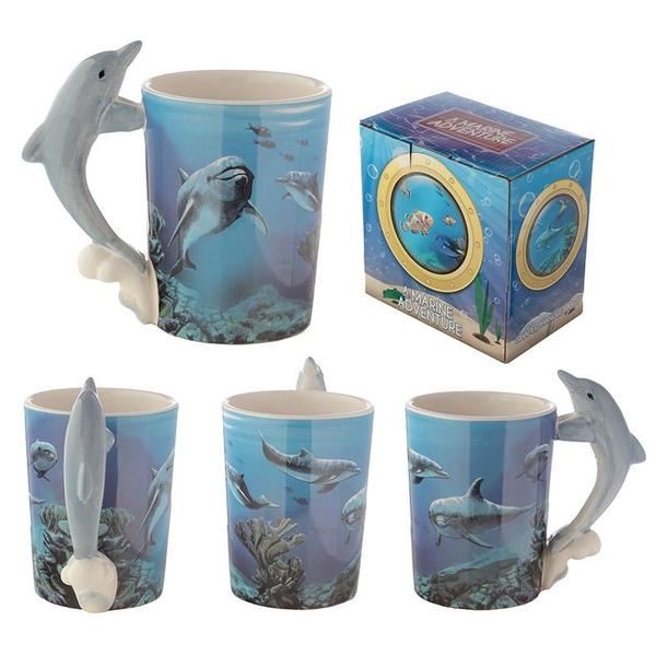 Sealife Printed Mug with Dolphin Handle