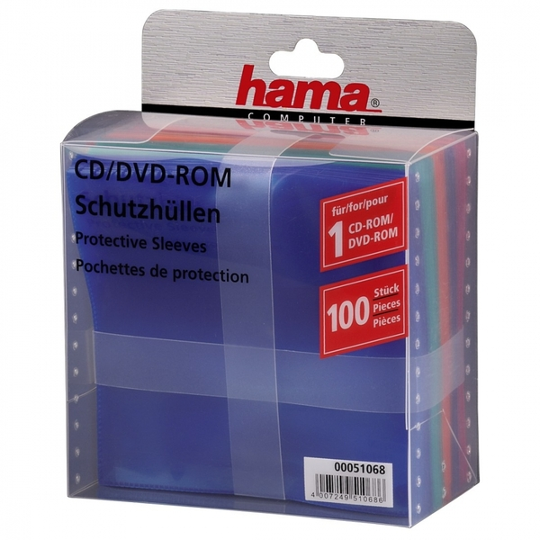 CD/DVD Protective Sleeves 100 Coloured