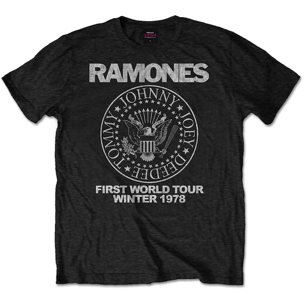 Ramones - First World Tour 1978 Unisex Small T-Shirt - Black
