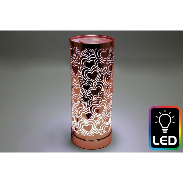 Heart LED Tall Rose Gold Oil Burner (UK Plug)