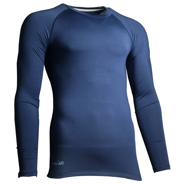 Precision Essential Base-Layer Long Sleeve Shirt Adult Navy - Large 42-44 Inch