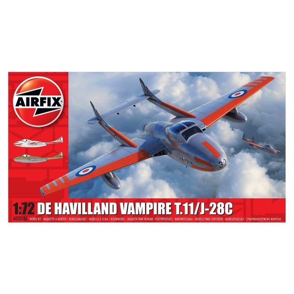 De Havilland Vampire T.11 / J-28C 1:72 Series 2 Air Fix Model Kit