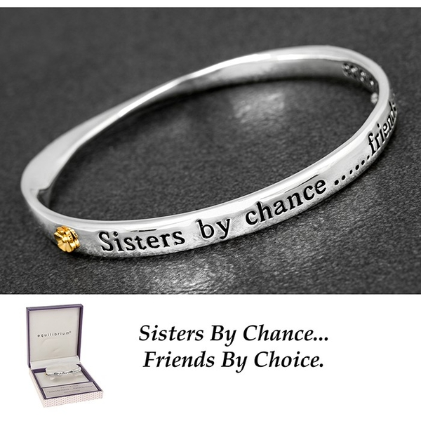 Equilibrium Silver Plated 2 Tone Bangle Sister